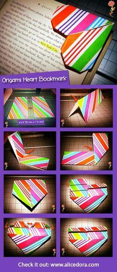 #Origami Heart #Bookmark #DIY