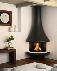 Modern fireplace: find a modern fireplace in our collection, heat and decorate your living room with a modern fireplace. Find a modern fireplace or a free standing wood stove among the large range of JC Bordelet contemporary fireplaces and stoves. Small Log Burner, Corner Log Burner, Modern Log Burners, Corner Wood Stove, Small Wood Burning Stove, Corner Fireplace Mantels, Wood Burner Fireplace, Small Fireplace, Living Room With Fireplace
