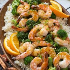Orange Shrimp and Broccoli. This orange shrimp and broccoli with garlic sesame fried rice is a quick healthy and easy dinner - the sauce only has 4 ingredients. Garlic Recipes, Rice Recipes, Seafood Recipes, Asian Recipes, Cooking Recipes, Healthy Recipes, Cooking Courses, Orange Recipes, Chinese Recipes