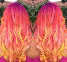 Red yellow ombre dyed hair @sweermelissagrace