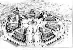 https://flic.kr/p/4G6p4F | Bogue plan, 1911 | This civic center would have been built near Fourth and Blanchard. See our online exhibit for more about Seattle's city halls, including some that never came to fruition.  From page 52 of the Municipal Plans Commission report by Virgil G. Bogue. Document 4843, Published Documents Collection, Seattle Municipal Archives.