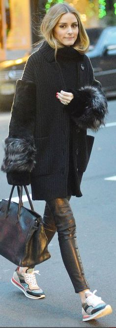 Who made  Olivia Palermo's black tote handbag and print sneakers?