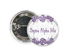 Standard size round pin back style button. Sigma Alpha Mu, Chi Psi, Engraved Tumblers, Different Colors, Size 2, Buttons, Personalized Items, Floral, Style