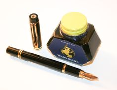 Waterman Le Man 100, Fountain Pen. c1995  Created for the company's centenary, this Waterman classic brilliantly exudes a strong personality. The scratch-resistant, hard polymer surface of the Man 100 offers a classic yet distinguished look   Each Le Man piece is highlighted by 23.3k gold-plated trim & clip.