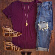 Jenna Basic Top - Burgundy