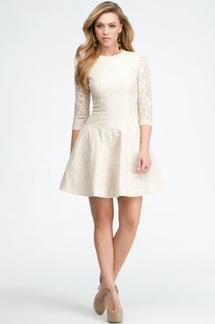 Lace 3/4 Sleeve Fit & Flare Dress <3