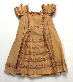 1860-1875 child's wool dress, American