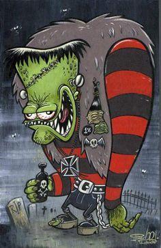Frankenstein's monster by Shawn Dickenson Halloween Illustration, Arte Horror, Horror Art, Horror Drawing, Art Frankenstein, Art Rockabilly, Cartoon Styles, Cartoon Art, Arte Zombie