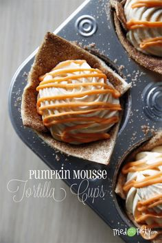 Pumpkin Mousse Tortilla Cups - Tried and Tasty I made these for a playgroup potluck lunch, and they were really easy and a huge hit! The presentation is pretty and impressive. If you don't have orange candy melt, I think milk chocolate would look just as cute and taste just as good.