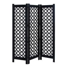 """Wood room divider with a trellis-inspired screen.  72"""" H x 60"""" W x 1"""" D (overall)  $210.95  Joss & Main"""