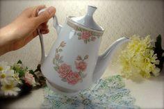 Big Beautiful Vintage Porcelain Pink Roses by HappyGalsVintage