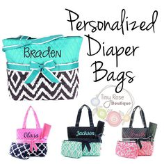 Personalized Diaper Bags - Monogrammed Baby Tote, Changing Pad, Mommy Bag  Give the perfect gift! A personalized Diaper bag with included