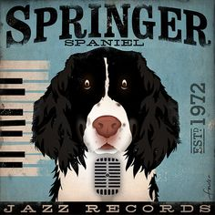 Springer Spaniel Jazz records album style graphic by geministudio, $79.00