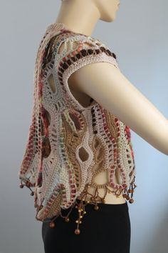 Freeform Crochet  Vest   Sweater  Wearable Art  OOAK