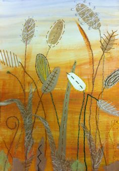 Wheat field - Textile Mixed Media by Christine Pettet Art www.facebook.com/christinepettetart Free Motion Embroidery, Embroidery Art, Embroidery Stitches, Fabric Art, Fabric Crafts, Sewing Crafts, Landscape Quilts, Sewing Patterns Free, Textiles