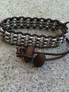 Men's Chain and Leather Bracelet on Etsy, $35.00