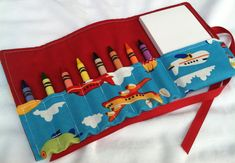 Crayon roll up.  Would be great to bring anywhere you might have to wait!
