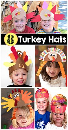 8 Easy Turkey Hats for Kids to Create Thanksgiving crafts for kids| CraftyMorning.com