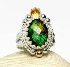 Ammolite Ring Sterling Silver Natural by TazziesCustomJewelry