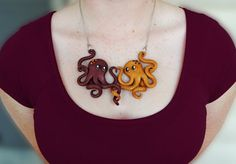 Octopus Lovers Necklace Polymer Clay Handmade by PrettyInPolymer