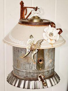 "Birdhouse, Metal Birdhouse, Reclaimed Objects Birdhouse, ""Magnolia""  $150.00"