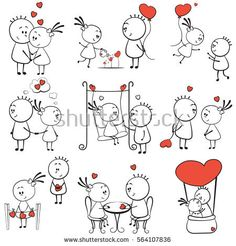 collection cartoon figure lovers in different poses with red heart, stick man Doodle Drawings, Cartoon Drawings, Doodle Art, Cute Drawings, Love Drawings Couple, Candy Bouquet Diy, Stick Figure Drawing, Drawing Lessons For Kids, Cartoon Girl Images