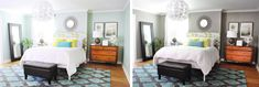 Getting Moody In The Bedroom | Young House Love -- their old bedroom paint color (shown here on the left) is Carolina Inn Club Aqua by Valspar.  Color on the right is Rockport Gray by Benjamin Moore