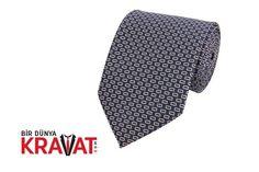 Desenli Lacivert Kravat