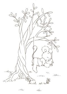little mouse sleeping on a swing. Embroidery Pattern. jwt