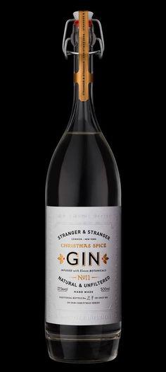 Stranger Stranger's Christmas spice gin, packaging by Stranger Stranger. Featured on Lovely Package Ginger Ale Gin, Tequila, Christmas Gin, O Gin, Stranger And Stranger, Gin Brands, Best Gin, Craft Gin, Bottle Packaging