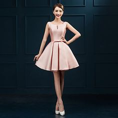 Homecoming Cocktail Party Dress - Blushing Pink Ball Gown Scoop Short/Mini Satin – USD $ 39.99
