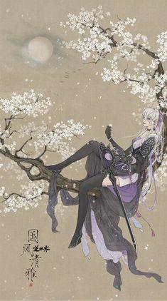 Art by Wenjie. Anime Fantasy, Fantasy Art, Best Fantasy Novels, Oriental, Chinese Artwork, Japan Art, Art Background, Anime Art Girl, Pretty Art
