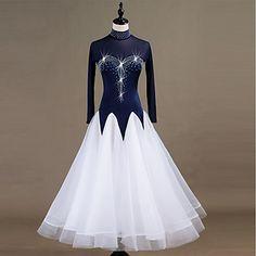 697acf63ee1a [$134.99] Ballroom Dance Dresses Women's Performance Spandex / Organza Split  Joint / Crystals / Rhinestones Long Sleeve Dress