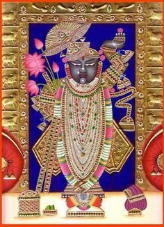 Shri Nath Ji, Hindu Water Color Painting on Paper Embossed with 24 Karat GoldArtist: Kailash Raj Mysore Painting, Tanjore Painting, Krishna Painting, Radha Krishna Images, Krishna Photos, Krishna Art, Lord Krishna, Pichwai Paintings, Mural Painting