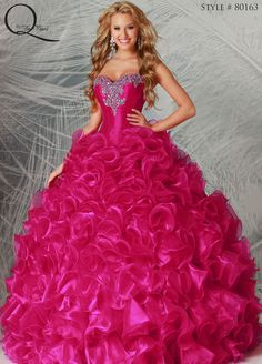 Hot Pink Quinceanera dress ~ Quinceanera dresses from Q by Davinci #quince XV años. Available in Dark Fuchsia, Apple, Seamist