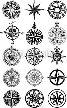 Wall Mural wind roses - nautical compass vector grunge collection - Photo Wallpaper • PIXERSIZE.com