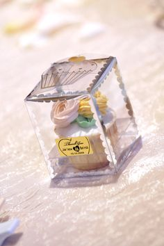 Little cupcake favors in transparent boxes makes the table a little more prettier. www.elysiumweddings.net