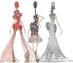 Alexander McQueen Spring For a very long time (Since it was presented nearly a year ago) I've wanted to tackle one of the most visually intense shows I have ever seen. Again, Sarah Burton for. Fashion Illustration Sketches, Fashion Sketches, Couture Fashion, Fashion Art, Alexander Mcqueen, Sarah Burton, Fashion Design Drawings, Fashion Portfolio, Woman Drawing