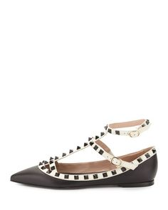 X2TL2 Valentino Rockstud Colorblock Leather Cage Flat, Black/Light Ivory