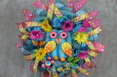 Deco Mesh Owl Wreath Spring Deco Mesh by SouthernCharmFlorals, $58.95