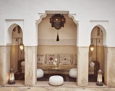 Discover Ryad Dyor, considered to be a top boutique riad in Marrakech. Ryad Dyor is a magical gem of tranquility amidst the hustle and bustle of the city. Morrocan House, Morrocan Decor, Morocco Hotel, Interior Exterior, Interior Design, Riad Marrakech, Marrakesh, Porch Styles, Moroccan Interiors