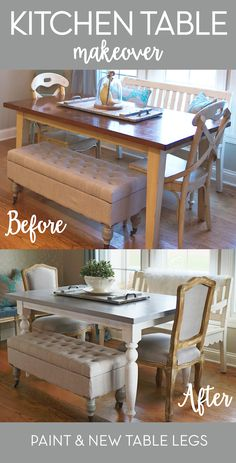 Table Update It's amazing what new table legs and a coat of paint can do for a table! Check out this DIY table makeover.It's amazing what new table legs and a coat of paint can do for a table! Check out this DIY table makeover. Diy Dining Room Table, Dining Table Makeover, Kitchen Table Makeover, White Dining Table, Diy Table, Diy Kitchen, Room Kitchen, Kitchen Ideas, Dining Ware