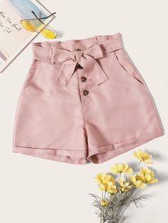 To find out about the Button Front Belted Shorts at SHEIN, part of our latest Shorts ready to shop online today! Fashion News, Fashion Outfits, Fashion Clothes, Belted Shorts, Distressed Denim Shorts, Color Khaki, Cycling Shorts, Printed Shorts, Cute Outfits