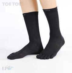 TOETOE® black socks silk mid calf style, designed to stop your toes rubbing together when you walk, run, jog, play sport or work out. Black Socks, Liner Socks, Jogging, Barefoot, Essentials, Wool, Running, Workout, Silk