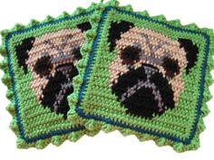 Pug Potholder Set Green crochet potholders with pugs by hooknsaw