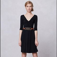 """ON SALE ✅ Anthropologie """"Norvel Dress"""" size M Sexy plunging neckline black dress, Lolly for anthropologie. Worn maybe twice! Accessorizing possibilities for this dress are limitless! Size M. First picture lightened to show knotting detail. Anthropologie Dresses"""
