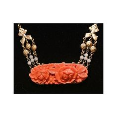 Celluloid Necklace Pendant Art Deco Carved Faux Coral Roses Relief... ($49) ❤ liked on Polyvore featuring jewelry, necklaces, coral bead necklace, art deco pendant necklace, vintage necklace, beaded necklaces and coral necklaces