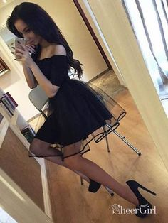 A Line Off the Shoulder Black Homecoming Dresses Chic Little Black Dress Cute Short Dresses, Cute Prom Dresses, Prom Outfits, Edgy Outfits, Ball Dresses, Classy Outfits, Elegant Dresses, Pretty Outfits, Homecoming Dresses