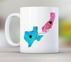 Mom, Personalized Long Distance State Coffee Mug with quote, All States Available, Countries and Provinces too, 11oz or 15oz