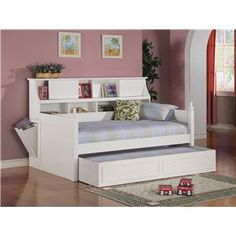 Daisy Twin Bookcase Daybed with Under-Bed Trundle by Coaster - Coaster - Daybed